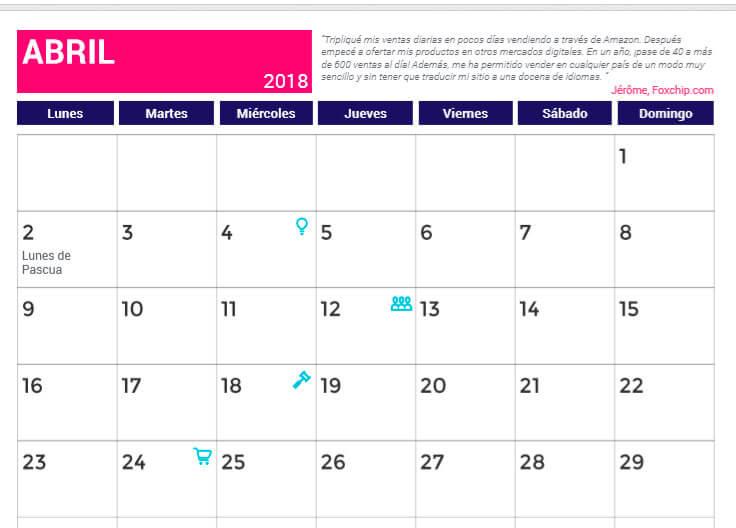Calendario de Abril