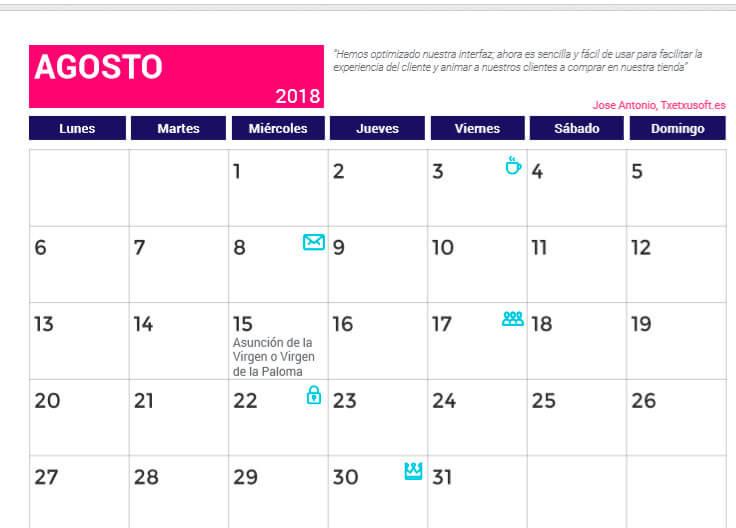 Calendario de Agosto
